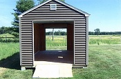 10' X 18' Shed with Drive-Thru Roll-Up Garage Doors (7' Vinyl Walls)