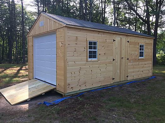 12' X 20' Pine Garage Shed with 7' Walls