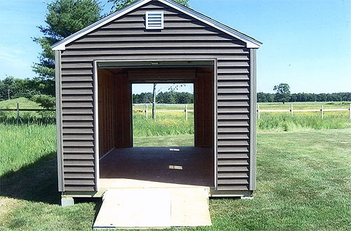 Shed pictures larochelle and sons sheds lyman me for Drive through garage door